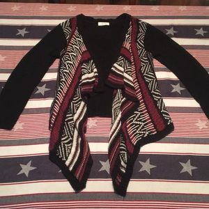 Black maroon and white open sweater